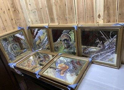 Complete set of 6 Miller High Life Beer Mirror Wildlife Mint Rare Find Diamond
