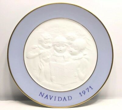 1971 LLADRO Hand Made In Spain 1st Edition Decorative Plate Blue White Gold Trim