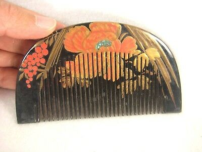 Antique Japanese Taisho Era Kanzashi Hair Piece Black Lacquer  Comb Peony