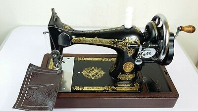Heavy Duty Singer 128K Hand crank Sewing Machine, sews Leather, Fully Serviced