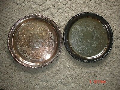 Oneida And Wm Rogers 161 Silver Plated Round Serving Trays Platter