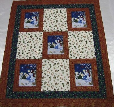"""PATCHWORK-Fussy  """"Come All Ye Faithful"""" Quilt Top~PIECED~Baby,Wall,Lap  34""""X39"""""""