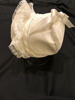 Vintage Frilly Lacy Baby / Doll Bonnet White Fine Whale Corduroy Satin Bow Brim