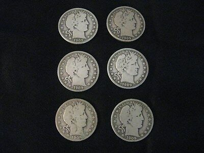 Barber Half Dollars 90% Silver Lot of 6 1909 & 1909O 100+ Years Old Circulated