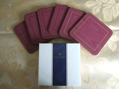 RETRO VINTAGE PIMPERNEL 'MOIRE RUBY' COASTER MATS x 6 BOXED - See details