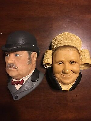Bossons Chalkware Heads- Lot of 2 - Dr. Watson and Bretonne Lady wall plaques.