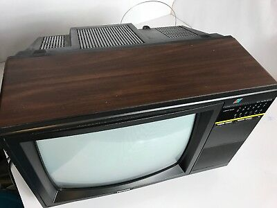 "Vtg 1980s Portland CRT 13"" Color TV Faux Woodgrain Dials Knobs Video Gamer"