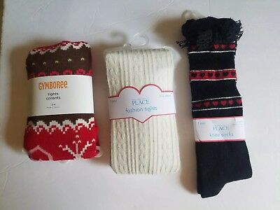Nwt Girls Tights Socks 3 Pair Size 3-4