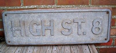 Vintage Cast Aluminium Road Street Sign High Street 8 Gowshall Ltd