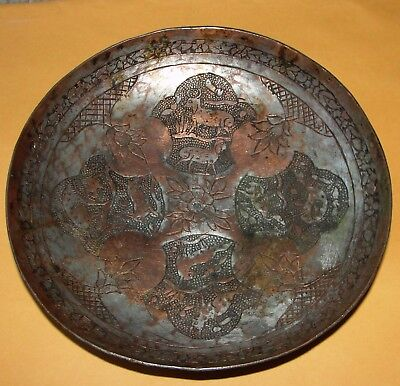 Old Persian Iran Art Handmade Copper Plate Tray Bowl Dish Fortune Story Teller