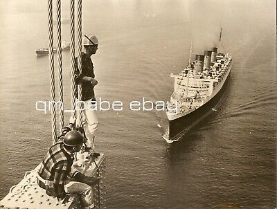 "Rare Vintage Photo Cunard Rms Queen Mary Passes Under ""new"" Verrazano Bridge Nyc"