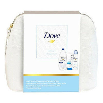Dove Beauty Collection Gift Set In Bag Body Wash Deo Deodorant Facial Cleanser