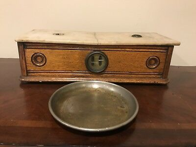 Antique Henry Troemner Apothecary Balance Scale Wood & Marble