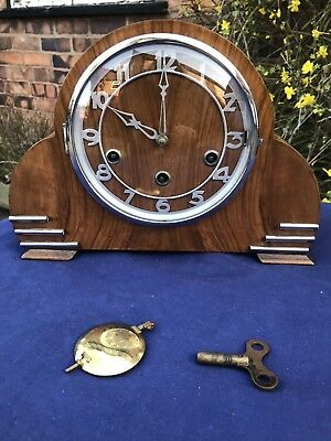 Beautiful Art Deco Walnut Mantle Clock
