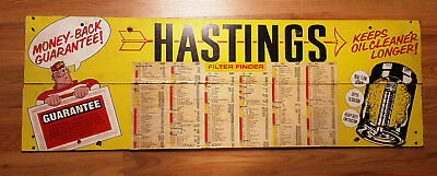 Hastings Oil And Air Filter Sign - Wooden 36 Inches X 11-3/4 Inches