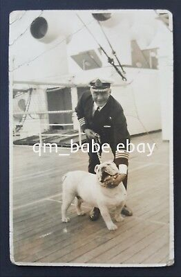 Rare Original Photo Captain R.b. Irving & Bulldog On Board Cunard Rms  Aquitania