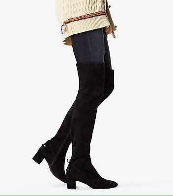 TORY BURCH Laila Over Knee Tall Boots Black SUEDE Size 8 M NEW IN BOX $598