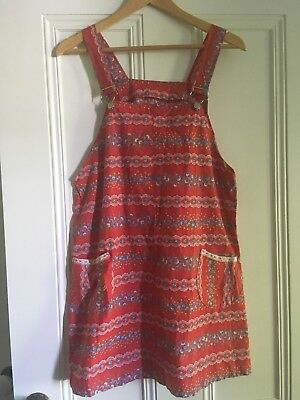 Cute Vintage Fabric Dress Pinafore Size  10-14