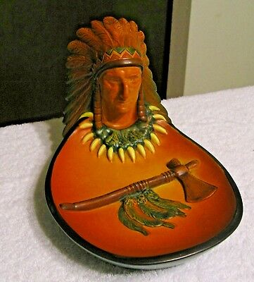 Antique Ipsen Art Pottery Denmark Signed Lauritz Jensen Indian Chief Bust Dish