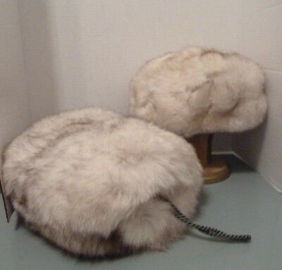 Vintage Real Fox Fur Hat & Muff Handwarmer Wristlet Zippered Interior Pocket