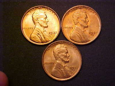 1937-P D S Set BU Red Lincoln Wheat Cents - 3 Great Collector Coins! -AA148XXX