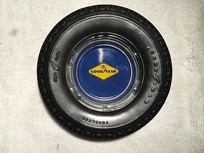 Vintage Goodyear Tires Rubber & Glass Painted Ashtray Gas Oil Car Auto Deluxe