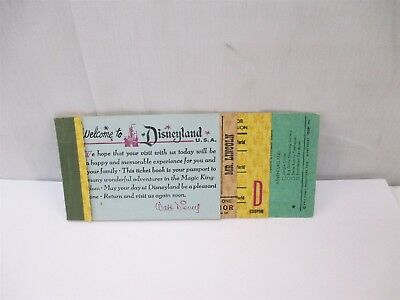 1966 Incomplete Disneyland Junior $4.00 Ticket Book Globe Ticket 6610