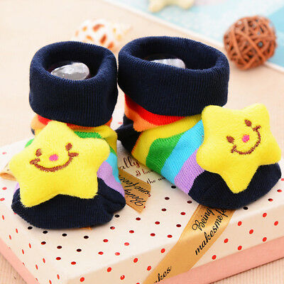 Smiling Star Anti-slip Socks Slippers in Pairs for 0-6 Months Babies US