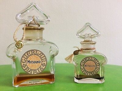 LOT of 2 VINTAGE GUERLAIN MITSOUKO PERFUME BOTTLES MADE IN FRANCE bit of perfume
