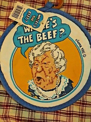 """Rare 1984, Wendy's, """"Where's The Beef?"""" Clara Peller pot holder -w-tags 9"""" round"""