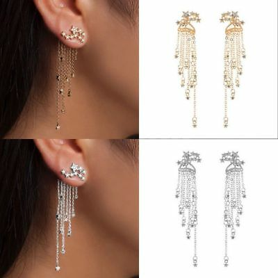 2019 Cubic Zircon Tassel Drop Earrings Trendy Star Dangle Earrings Women Jewelry