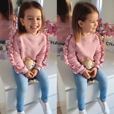 AU 2PCS Toddler Kids Baby Girls Ruffle Tops Denim Pants Winter Outfits Clothes