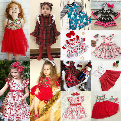 AU Xmas Baby Girl Princess Dress Kids Lace Plaid Tutu Deer Party Pageant Dresses