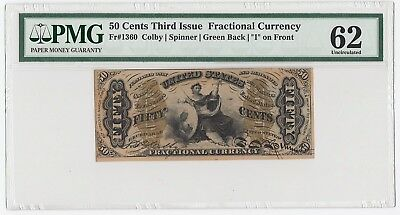 """50 Cents Third Issue Fractional Currency Fr#1360 Green """"1"""" on Front (PMG 62 UNC)"""