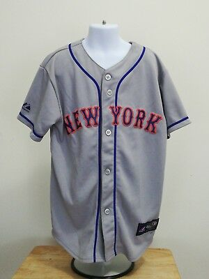 Mets Jersey Majestic M Youth Stitched Grey Jersey YOUTH M Genuine. MLB New York