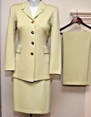 ST.JOHN Collection Womens 3Pc Suit Mint Green Jacket, Skirt and Pants Sz 4-6
