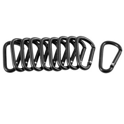 Black Aluminum Carabiner D-Ring Key Chain Clip Keyring Snap Hook Outdoor New~