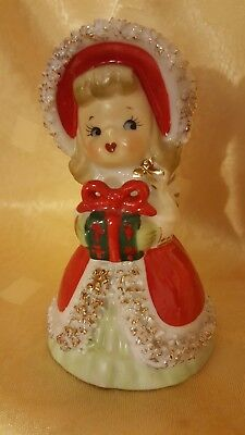 "Vintage Lefton - Christmas Angel Bell Figurine Holding Gift- 4.5"" Tall (42A)"