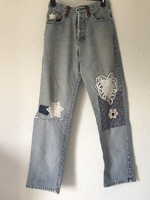 Guess Denim Jeans Womens Size 26 Button Fly VINTAGE Embellished
