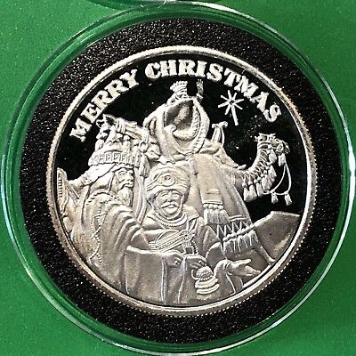 Merry Christmas 3 Wisemen 1 Troy Oz .999 Fine Silver Collectible Round Coin 999