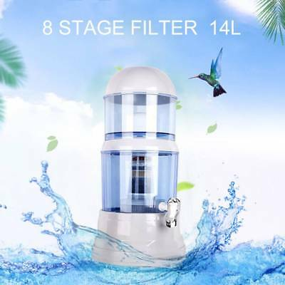14L 8 Stage Water Filter Purifier Distiller Ceramic Carbon Mineral Dispenser Hot