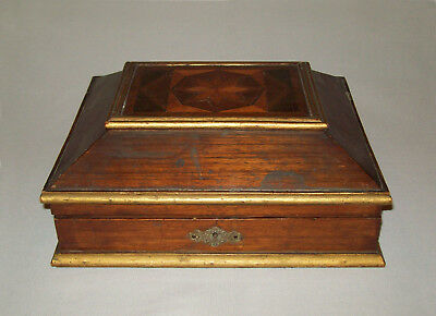 Old Antique Vtg Late 19th C 1880's Star Inlaid Box Veneered Original  Surface