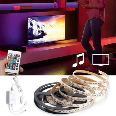 Music Sound Activated RGB 5050 LED Strip Light Kit + 5V USB IR Controller
