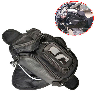 Magnetic Motorcycle MotorBike Travel Saddlebag Oil Fuel Tank Bag Phone Black