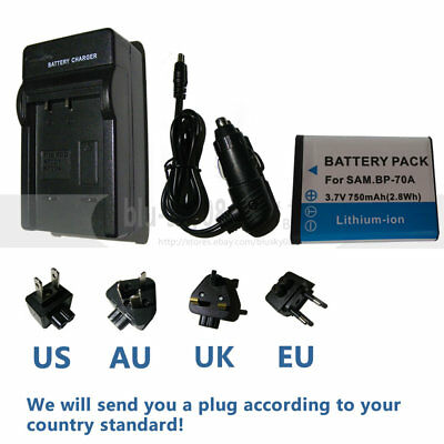 BP-70A Battery + Charger for Samsung TL110 TL205 WB30F WB35F WB50F WP10 AQ100