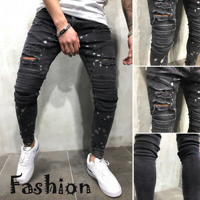 US Fashion Mens Ripped Skinny Jeans Destroyed Frayed Slim Fit Denim Pants Zipper
