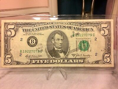 1969 $5 Five Dollar Bill Federal Reserve Legal Tender Note with Sleeve & Stand