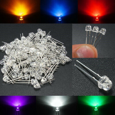 100Pcs 5mm Straw Hat LED Wide Angle Light Emitting Diodes Water Clear 6Color