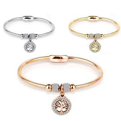 Women Stainless Steel Magnetic Bracelet Therapy Energy Rhinestone Bangle Gift