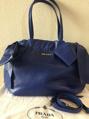 NWT Authentic PRADA Nappa Antique Bow Tote Bag BR4205, Royal Blue W/Receipt